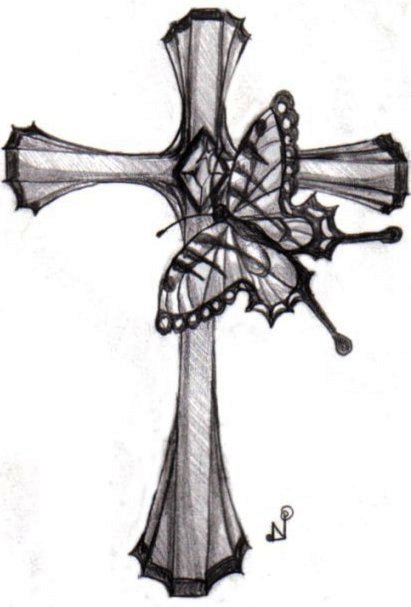 Gorgeous Butterfly and Cross Tattoo Design Picture