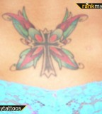 Celtic Cross with Butterfly Lower Back Tattoo Design
