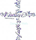 Charming Cross and Butterfly Tattoo Design Skecth By Denise A Wells