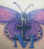 Religious Purple Butterfly Cross Tattoo Design Pic