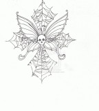 Skull Butterfly Cobweb Cross Tattoo Design by Moonvixen8 on Deviantart