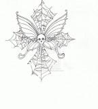 Skull Butterfly Cobweb Cross Tattoo Design by Moonvixen8 on Deviantart