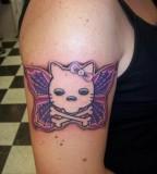 Hello Kitty Skeleton Butterfly Tattoo Design Idea