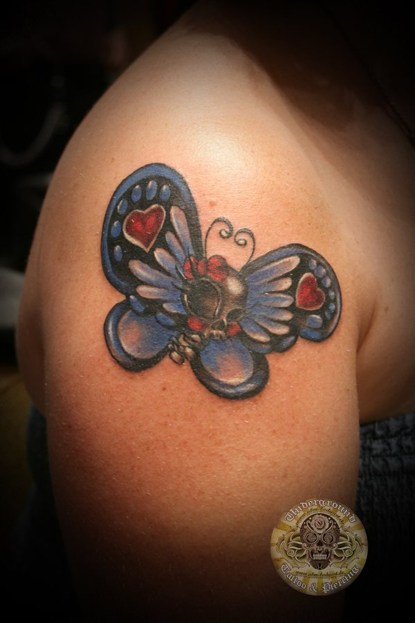 Skull Butterfly Color Tattoo By 2facetattoo