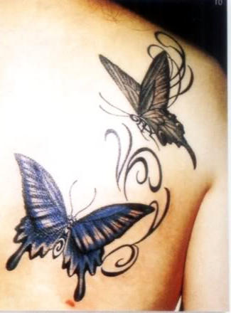 Black Butterfly Tattoo Designs Back Shoulder