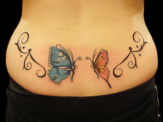 Lowerback Butterfly Couple Tattoo Designs