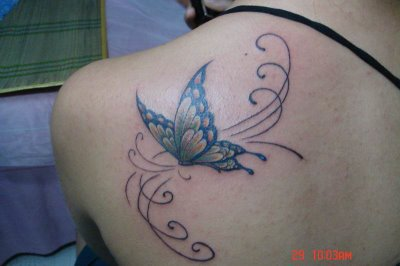 Back Shoulder Butterfly Tattoo Design