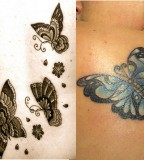 Women Tattoo Design Ideas: Neutral Color and Colorful Butterfly Tattoos