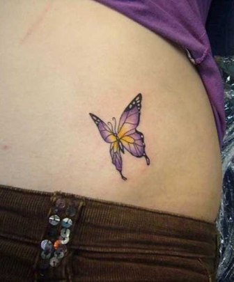 c05a1e8bbcc32 Cute Purple Butterfly Tattoo on Side Belly - | TattooMagz › Tattoo ...