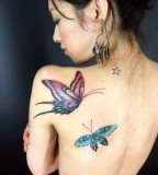 Amazing Girly Butterfly Tattoos on the Back (NSFW)