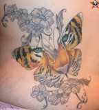 Wonderful Tiger Butterfly with Flower Ornament Tattoos Design