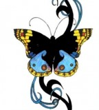 Flower Butterfly Tattoo Sample For Women