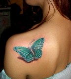 Amazing Green 3D Butterfly Tattoo on Women Back Shoulder