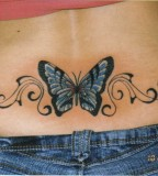 Art Blue Butterfly Swirl Tattoo on Women Back