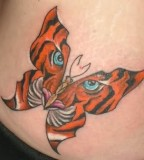 Cool Tiger Butterfly Tattoo Design