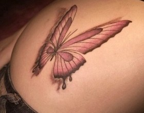 3D Butterfly Tattoo on Hip