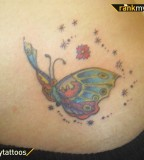 Full Color Butterfly Tattoo for Hip