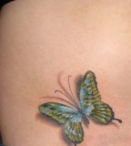 Small 3D Butterfly Tattoo on Hip