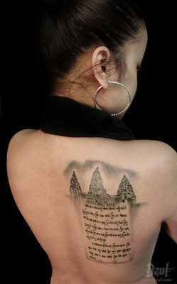 Khmer Tattoo on Left Back for Woman