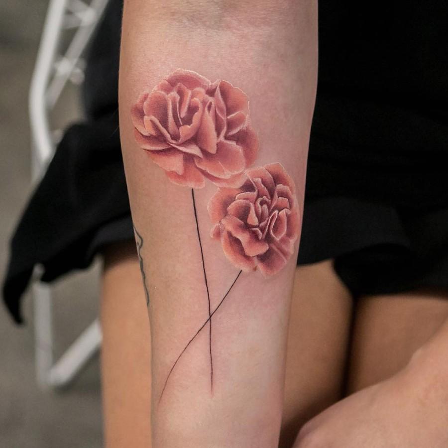 carnations-tattoo-by-joicewang-nyc
