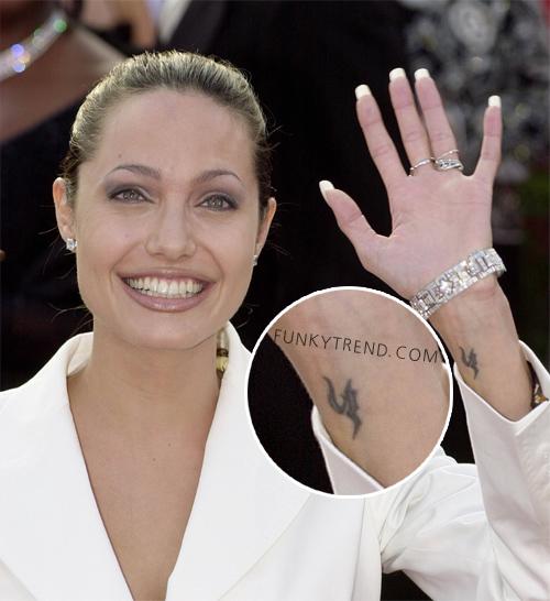 Angelina Jolie Celebrity with Awesome Wrist Tattoos