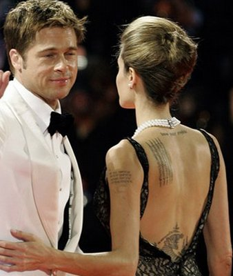 Brad Pitt and Angelina Jolie with Wrist Tattoos Celebrity
