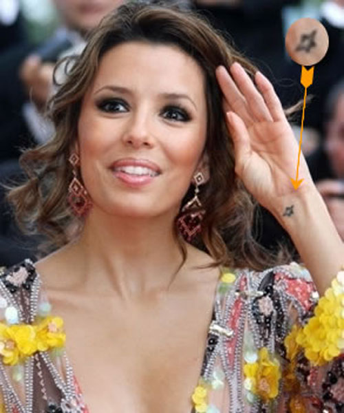 Eva Longoria Celebrity with Wrist Star Tattoos