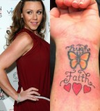 Michelle Heaton Celebrity with Chic Butterfly Wirst Tattoos