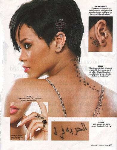 Rihanna Celebrities with Arabic Wrist Tattoos