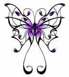 Hot Purple Celtic Butterfly Tattoo Sketch Design