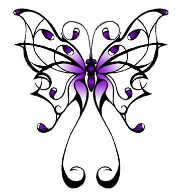 Hot Purple Celtic Butterfly Tattoo Sketch Design