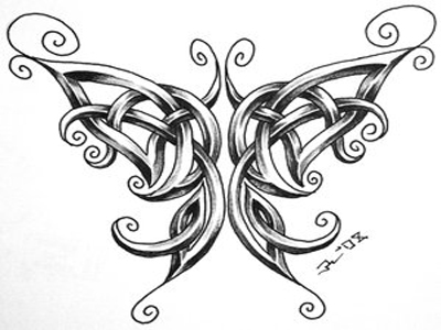Sexy Celtic Butterfly Tattoo Sketch