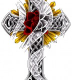 Cool Red And Yellow Cross Tattoos