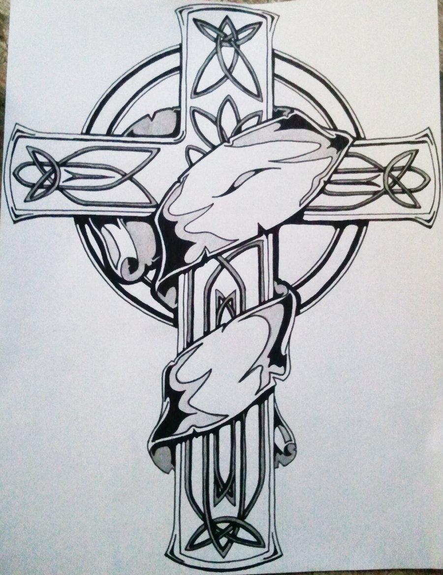 Celtic Cross Tattoo Design On Paper