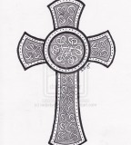 Nice Celtic Cross Tattoo Design on Paper