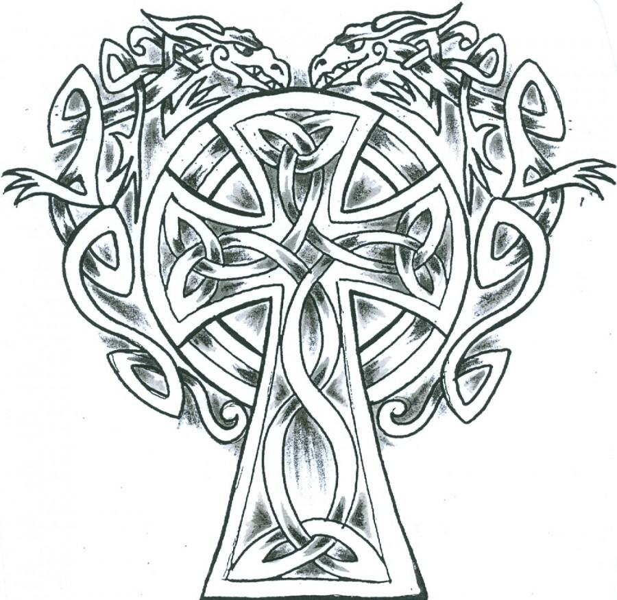 Simple Celtic Dragons Cross Tattoo Design