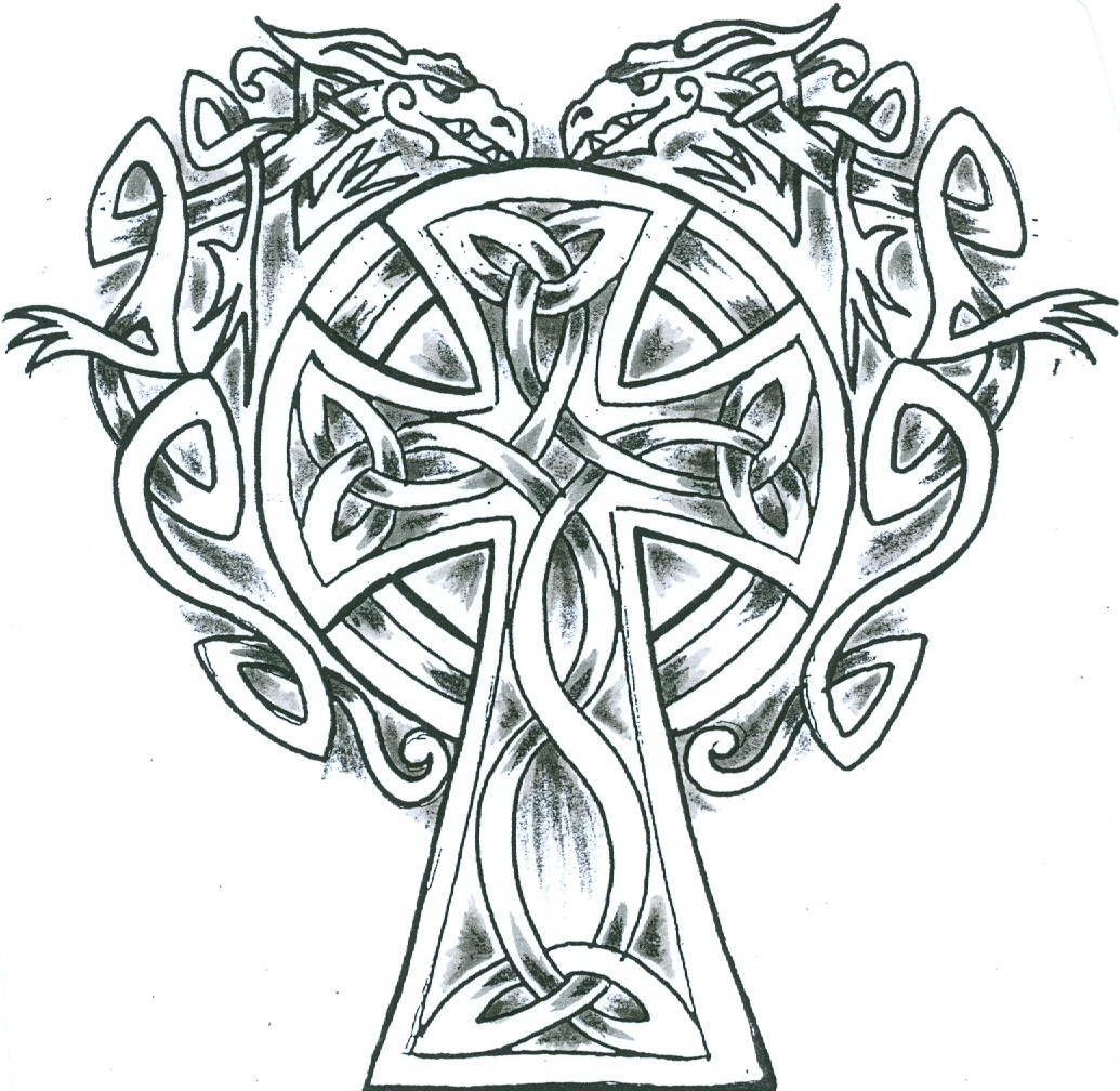 simple celtic dragons cross tattoo design