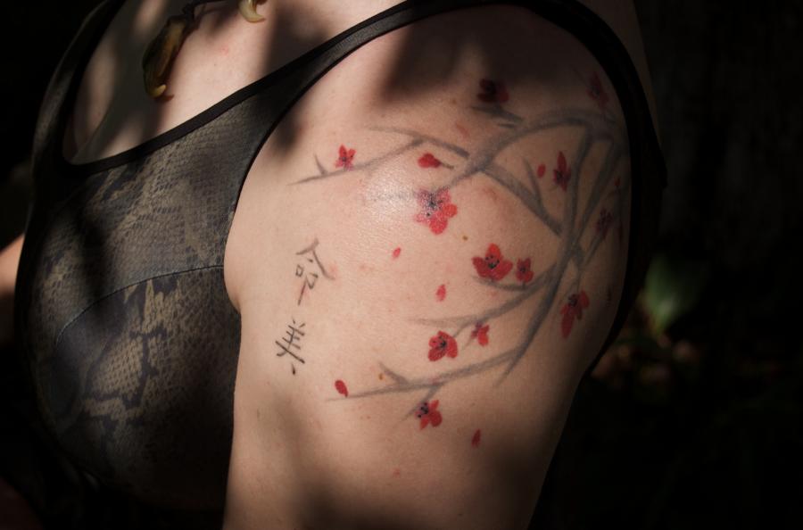 Cherry Blossom Tattoo Girl Design