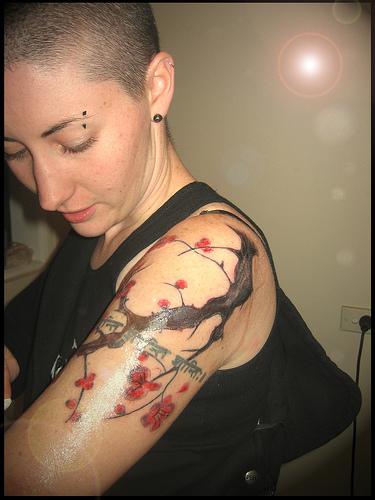 Sexy Cherry Tree Tattoo On Arm