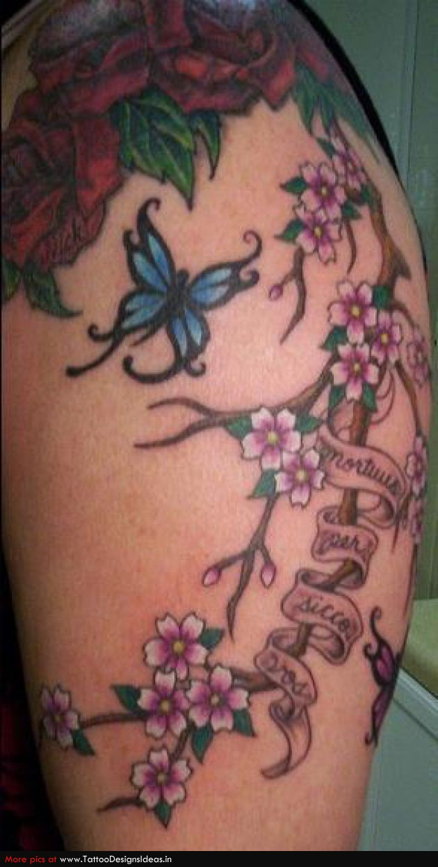 Cherry Blossom Tattoos with Green Small Butterfly