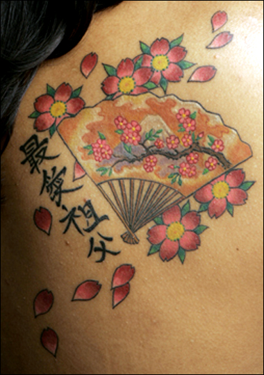 Japanese Cherry Blossom and Geisha Tattoo
