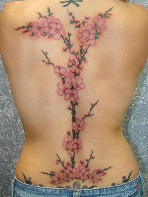 Cool Cherry Blossom Tree Tattoo Design on Woman's Back
