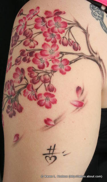 Cherry Tree Branches And Blossoms Tattoo