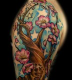 Sleeve Tattoo Design Of Cherry Tree Design
