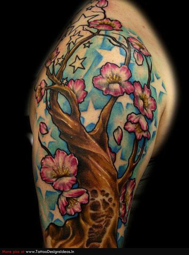 Sleeve Tattoo Design Of Cherry Tree Design