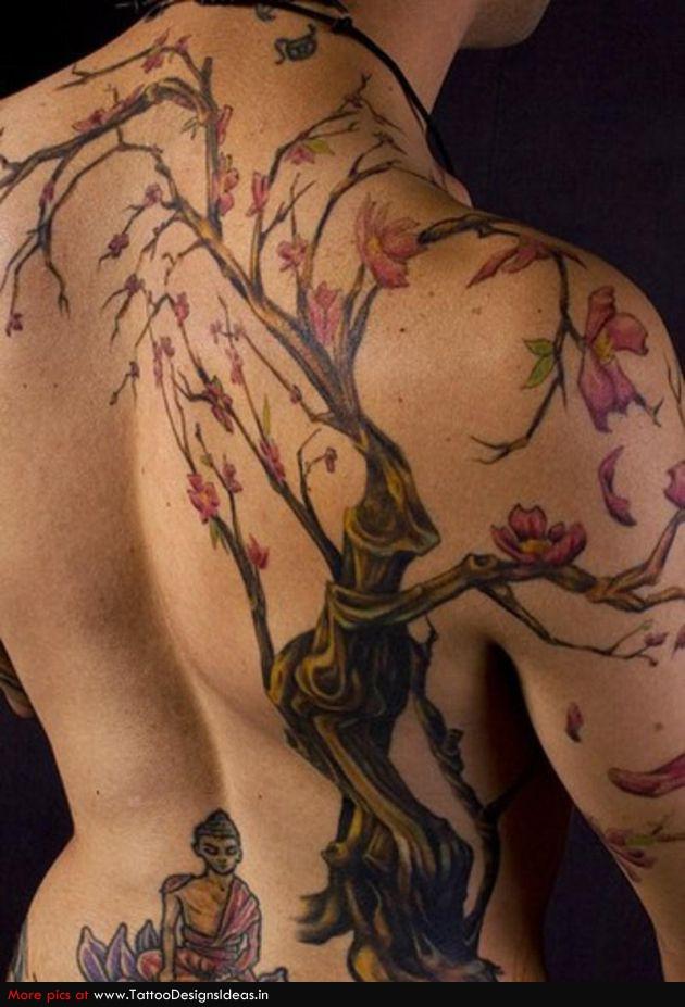 Meditation Under Cherry Blossom Tree Tattoo Design