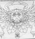 Gothic Chest Piece Tattoo Outline Sketch by Infernothebloodhound