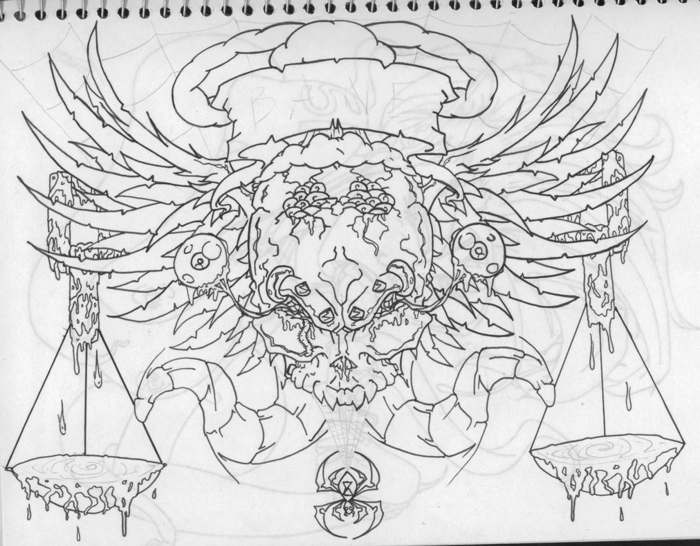 Gothic Chest Piece Tattoo Outline Sketch By