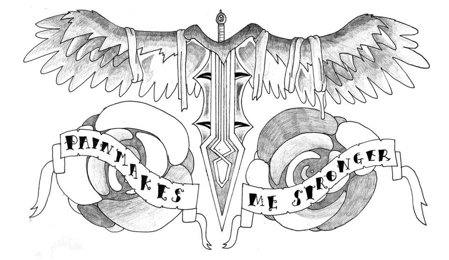"Winged Dagger Chest Piece Tattoo Design ""Pain Makes Me Stronger"" by Allblacker"