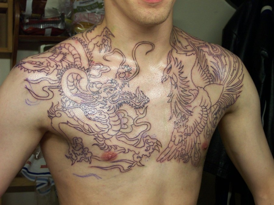 Mythical Dragon and Phoenix Chest Piece Tattoo Outlines By Includingthestars (Deviantart)